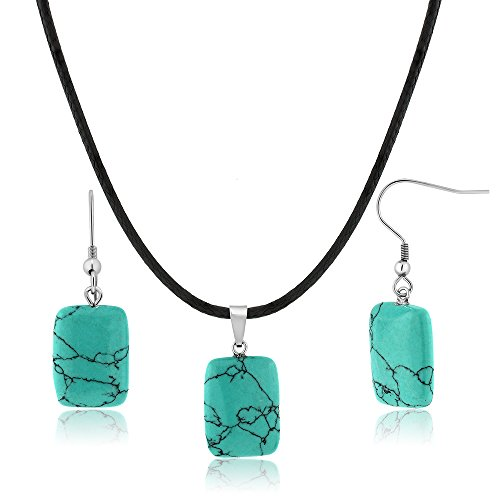 Beautiful Rectangle Shape Simulated Turquoise Pendant Set With Matching Earrings Rectangle Turquoise Pendant