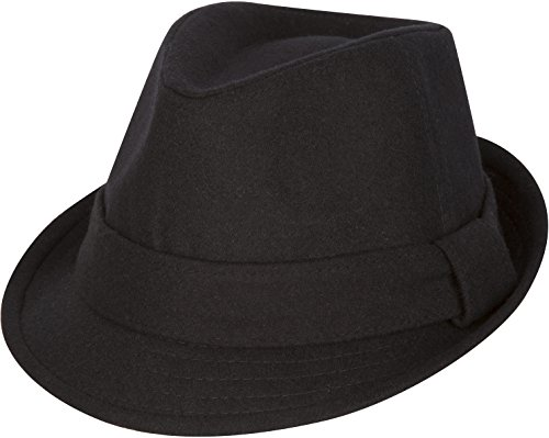 Sakkas F1218 Original Unisex Structured Wool Fedora Hat - Black - L/XL -