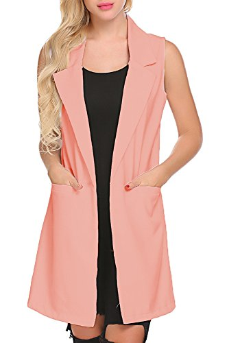 Women Sleeveless Vest Thin Jacket Vest Slim Fitted Open Suits Cardigan Long Waistcoat (XL, (Long Suit Jackets Women)