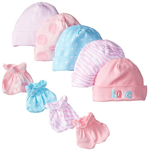 gerber-baby-girls-5-pack-cap-and-4-pack-mitten-bundle