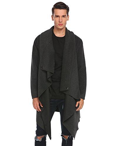 (JINIDU Men's Wool Overcoat Irregular Long Shawl Collar Cardigan Jacket Business Winter Trench Coat Dark Grey)