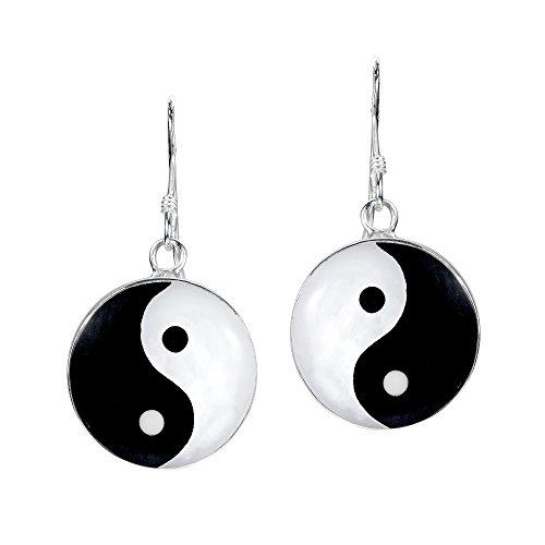 Yin and Yang Life Balance .925 Sterling Silver Dangle Earrings ()