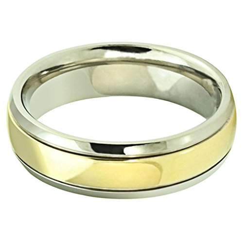 Bishilin Men's Stainless Steel Rings Weddings Bands Smooth Golden Size 11