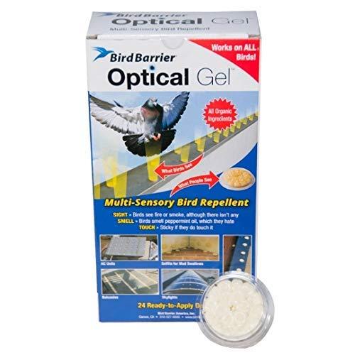 Bird Barrier Optical Gel (24 Pack) Multi-Sensory Bird Repellent. Seen as Dishes of Fire that scares birds away. Humane Alternative to Bird Spikes. Effective as a Woodpecker, Pigeon and Bird Deterrent