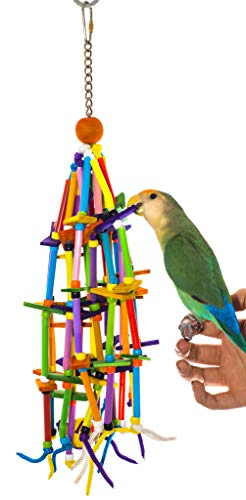 Birds LOVE Small Bird Toy Straws for Climbing Swinging and Chewing Fun, Cockatiel Lovebird Parakeet Conure Parrotlet Bourke Budgies Quaker Finch Canary Small Bird Cage, Stand or PlayGym