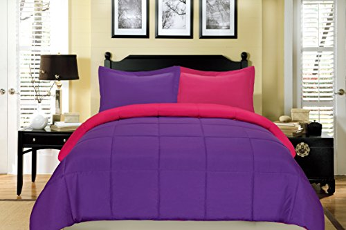 South Bay Reversible Down Alternative Comforter Set, King, Fuchsia and Purple
