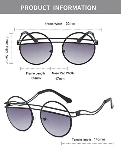 Plata negras Steampunk Hombres Diseño para redondas damas Moda Gafas retro de de sol femenina sol Gafas oscuras mujeres Gafas para vintage oval 1tYUF