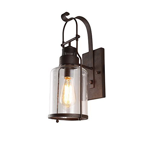 Vintage Glass Wall Lamp, Motent Industrial Retro Iron Glass Wall Lantern in Rubbed Bronze Finished, Antique Minimalism 1-Light Cage Box Wall Sconce, 5.9'' Dia for Bedside Porch Restaurant Bar - Black by MOTENT