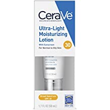 CeraVe Ultra-Light Face Lotion/Face Moisturizer with Sunscreen (SPF 30) for Daily Use, 1.7 Oz