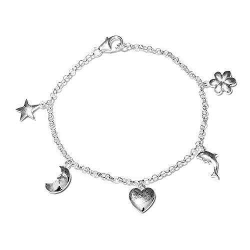 Charm Ankle Anklet Bracelet for Women 925 Sterling Silver Sea Shell Star Seahorse Fish Foot Jewelry Adjustable 7.25""