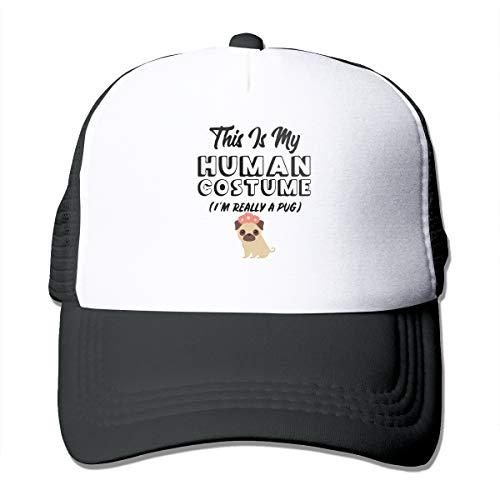 Unisex Trucker Hat This is My Human Costume I'm Really A Pug Men's Women's Adjustable Mesh Cap Latest Baseball Caps Black ()