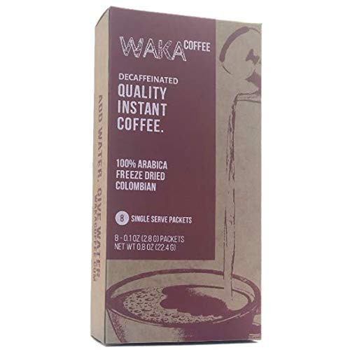 Waka Coffee Quality Decaffeinated Instant Coffee, Colombian, Medium Roast | 100% Arabica, Freeze Dried, 8 Single-Serve Packets | Add Water, Give Water