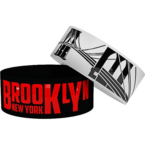 2 Brooklyn NY Wristbands with Bonus Storage Cases • Silicone Rubber Wristbands / Baller Bands (1 inch wide) (white/black + - Quotes Funny Playa
