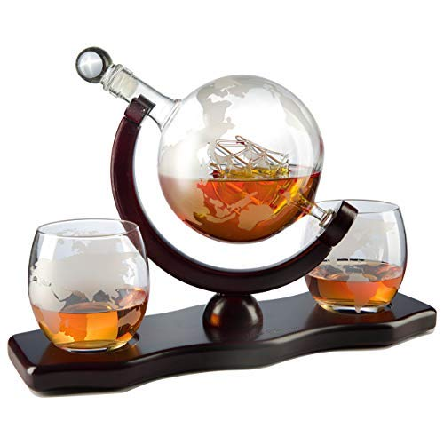 The Wine Savant World Decanter - With 2 Globe Glasses and Whiskey Stones For Whiskey or Wine With Antique Ship And Matching Globe Glasses (Mahogany Stained Wood), HOME BAR DECOR by The Wine Savant (Image #2)