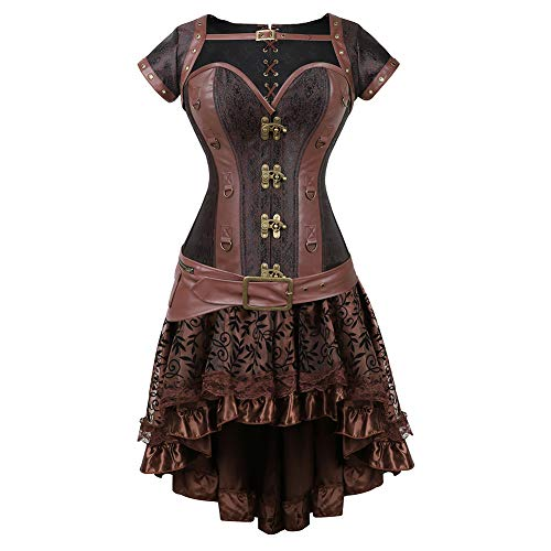 Grebrafan Gothic Steel Bones Vintage Retro Burlesque Corset Vest Skirt Set (US(20-22) 6XL, Brown) for $<!--$67.89-->