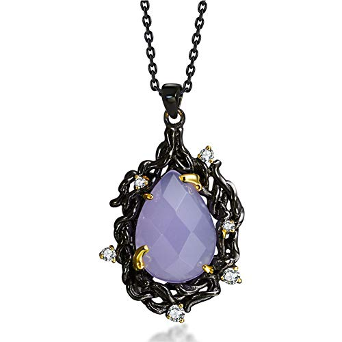 - Ladies Necklace,Black Retro Goth Style Necklace Purple Chalcedony Stone Pendant Chain Personality Temperament Jewelry,Birthday Valentine Day Mother Gift