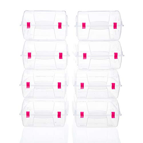 es Box Clear Plastic Storage Shoes Case Holder With Locker (red) ()