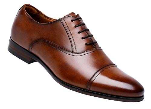 DESAI Men's Leather Dress Shoes Cap Toe Lace-up Oxford (8 M US, Brown)