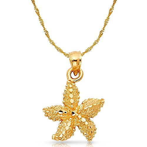 Ioka Jewelry - 14K Yellow Gold Starfish Charm Pendant with 1.2mm Singapore Chain Necklace - 20