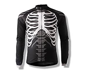 Spakct Hombres Ciclismo Jersey largo sleeves-skeleton, Hombre, color negro, tamaño XX-Large