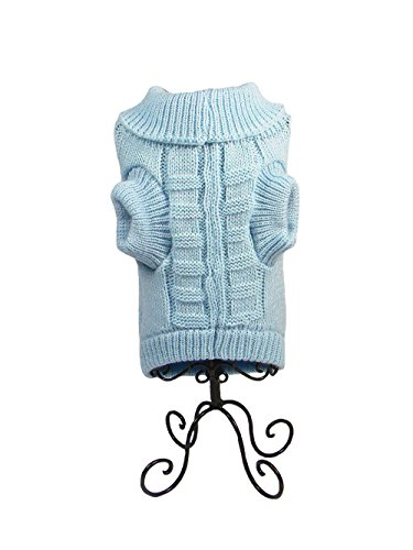 Dog Christmas Sweater Cable Knit Turtleneck Knitwear Puppy Pet Outerwear Clothes Blue (Dog Outerwear)