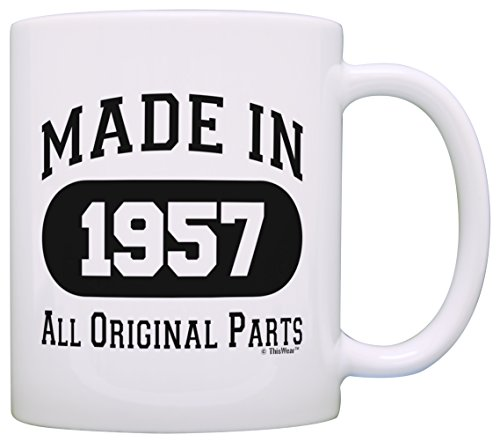 60th Birthday Gift Made 1957 60th Birthday Party Decorations Gift Coffee Mug Tea Cup White