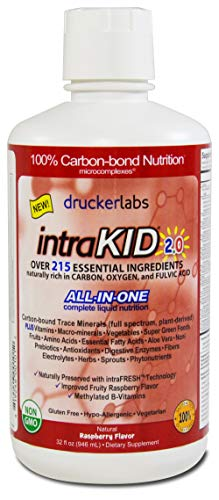 DRUCKER LABS IntraKID 2.0 - Organic Liquid Trace Minerals, Multivitamin and Multi-Nutritional Dietary Supplement for Children ( 32 Ounces / 946 Milliliters, Raspberry Flavor )]()