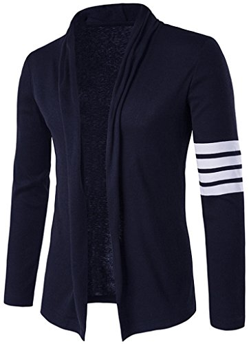 What Lees Mens Casual Long Sleeve White-Strips Designer Splice Wool Blend Slim Fit Open Outwear Cardigan B340-Navy-M