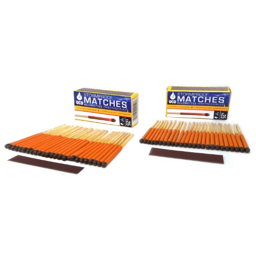 (UCO Stormproof Matches, Waterproof and Windproof with 15 Second Burn Time - 50 Matches)