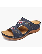 Lucasou Flower Embroidered Vintage Casual Wedges, Sandals for Women Dressy Summer, Soft Non-Slip Flat Sandals Beach Slippers Casual Shoes