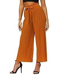 Conceited Premium Stretch Palazzo Pantalones para Mujer – Talle Alto Micro Plisado – Regular y Plus Tamaños