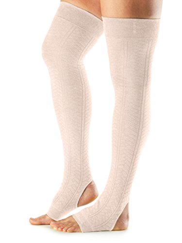 Knit Wool Acrylic (ToeSox Women's Wool Thigh High Ribbed Knit Leg Warmers (Sweet Pea) One Size)