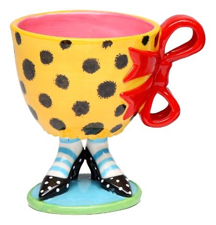 Appletree 4-3/4-Inch Sugar High Social by Babs Ceramic Mug with red bow ()
