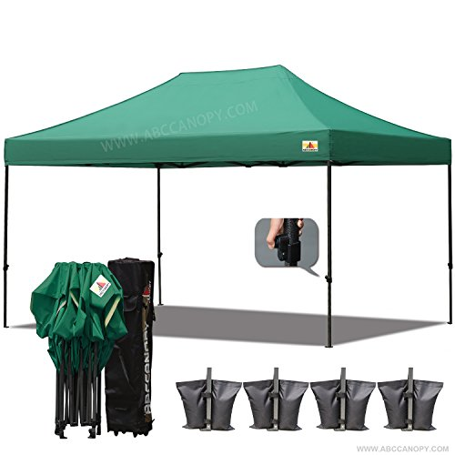 Commercial High Peak Canopy ((18+colors)ABCCANOPY 10x15 Pop up Tent Instant Canopy Commercial Outdoor Canopy with Wheeled Carry Bag Bonus 4x Weight Bag (forest green))