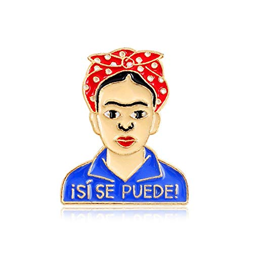 Halloween Beauty and Tombstone Coffin Epitaph Skull Enamel Lapel Pin Brooch Series Gifts for Women (Frida Kahlo-02)]()