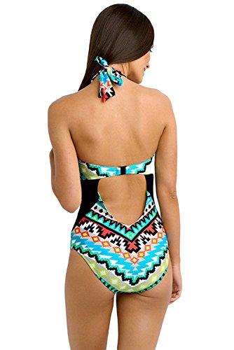 Monocromo diseño ondulado, alta cuello una pieza Maillot Colour tribal