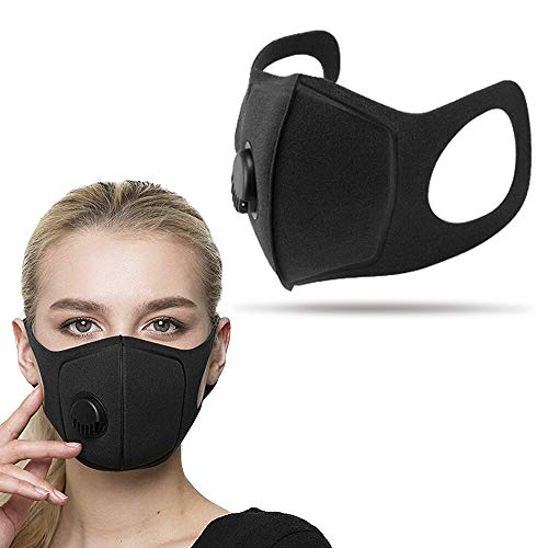 INDARUN Anti-smog Activated Carbon Mask, Washable Double-layer Filtration Mask with 360° Adjustable Breathing Valve for Odor, Dust, Smog, Pollen Allergy, Running, Outdoor Activities