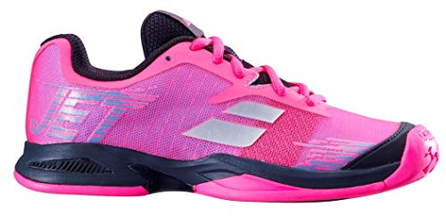 (Babolat Juniors` Jet All Court Tennis Shoes Pink and Black (3))