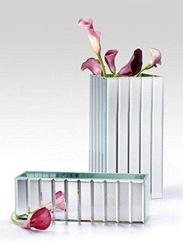 Tall and Low Gatsby Mirror Strip Vase (12in L x 4in W x 4in H - Gatsby Mirror