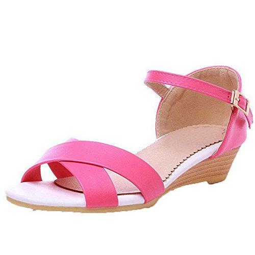 AalarDom Womens Open-Toe Low-Heels Soft Materials Solid Buckle Sandals Rosered-3cm