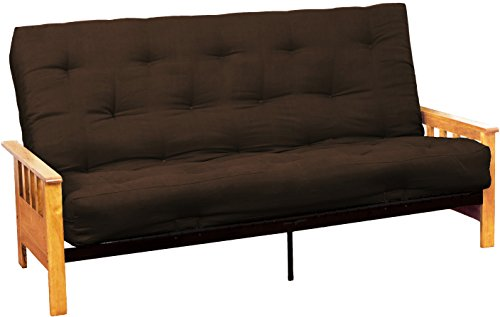 Epic Furnishings Berkeley 10-inch Loft Inner Spring Futon Sofa Sleeper Bed, Full-size, Natural Arm Finish, Microfiber Suede Chocolate Brown Upholstery