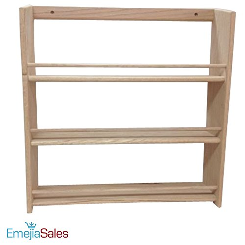 EmejiaSales Oak Spice Rack Wall Mount Organizer (3-Shelf Design), Hanging Natural Wood Country Rustic Style, Great Storage for Pantry and Kitchen - Holds 27 Herb Jars by EmejiaSales
