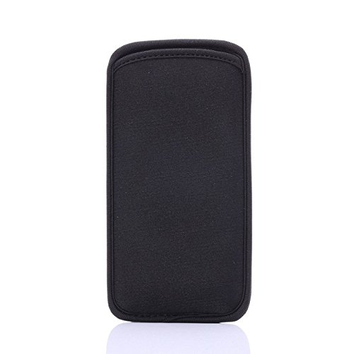 Black Soft Neoprene Cell Phone Carrying Sleeve Cover Purse for iPhone XR/LG Q7+ / BLU A5 Energy/Essential Phone PH-1 (Black, Small)