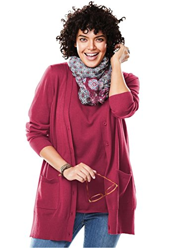 - Women's Plus Size The Boyfriend Cardigan Cherry,L