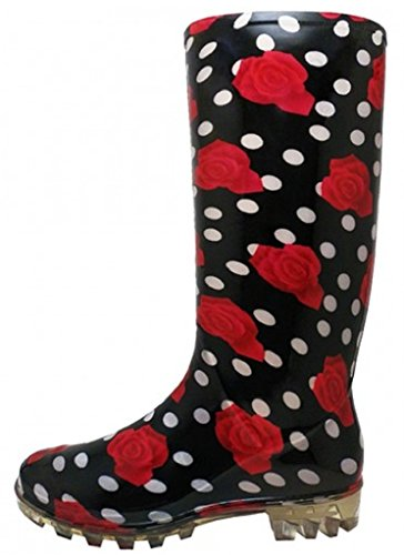 Shoes8teen Womens Basic Rain Boots Red Rose 8 (Red Women Boots)