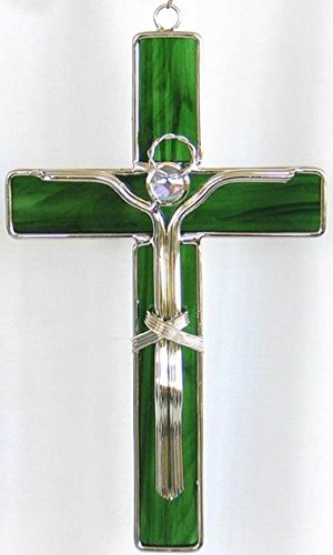 JGS Stained Glass Crucifix (Green Glass)