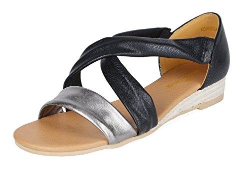 DREAM PAIRS Formosa_8 Women's Open Toe Low Wedge Sandal Pewter Black Size 7.5 M US