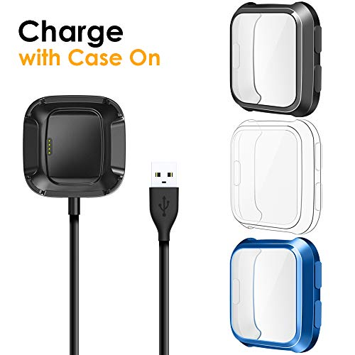 - EZCO Compatible with Fitbit Versa Screen Protector Plus Charger [3+1 Pack], Exclusive Charging Dock Cable (Can Charge Case On) Soft TPU Full Coverage Case Cover Bumper Compatible Versa Smart Watch