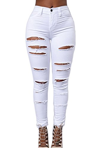 Maigre White Printemps Dchirs Haute Jeans Trou Pnats De Femmes Les Occasionnels Taille Automne w1pf4xqCq