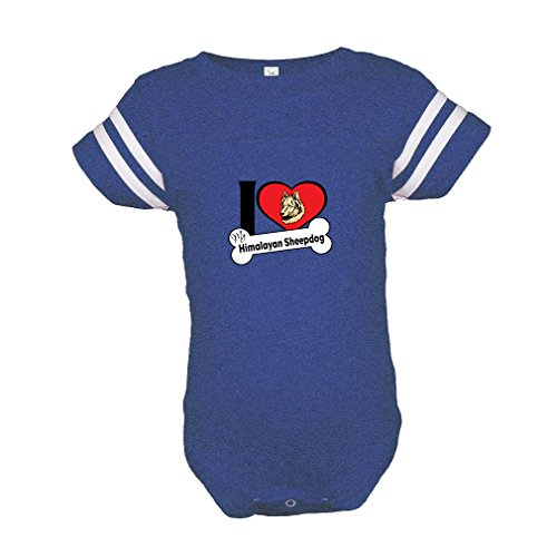 an Sheepdog I Love My Bone Baby Kid Football Fine Jersey Bodysuit Royal Blue Newborn (Himalayan Suit)